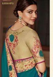 Party Wear Border Kimora Kajal Vol 4 Silk Sarees, 6 M (with Blouse Piece)