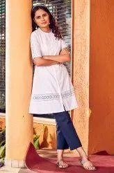 Janasya Women's White Cotton Tunic(J0080)