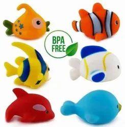 Mickleys Chu Chu Bath Toys For Baby Aquatic Fish Animals Set Of 6 Non Toxic