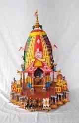 Multicolor Carving Jagannath Wooden Rath, For Decoration, Size: 24