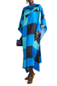 Boat Neck Style Digital Printed Softy Silk Kaftan Top