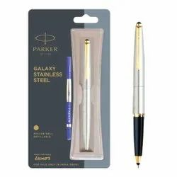 Parker Galaxy Stainless Steel Refillable Rollerball Pen With Gold Trim