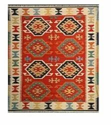 Cotton Rectangular Red FAF00274 Kilim/Durries/Flat Weave Rug, Size: 4 X 6 Ft