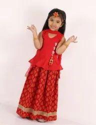 Red Machine Peplum Choli With Block Print Cotton Lehanga