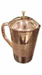 Golden Round Copper Water Jug, For Restaurant, Capacity: 1 Litre
