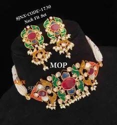 Golden Copper Antique Designer Necklace Set, Box