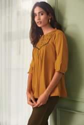 Janasya Women's Mustard Cotton Flex Top(J0213)