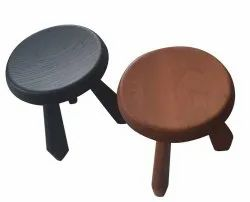 Brown and Gray Round Low Wooden Table, For Home