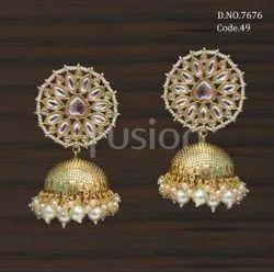 Fusion Arts Kundan Jhumka Earrings