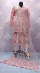 Pink Party Wear Embroidered Cotton Suit