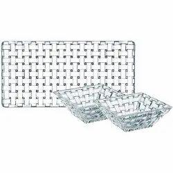 Rectangular and Square Glass Snack Platter Set