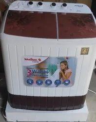 Semi-Automatic KHAITAN WASHING MACHINE SEMI 8KG, White Red