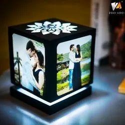 Wooden Brown Revolving Laser Lamp, For Gift & Decoration