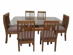 Bennett Woods Rectangular Brown Teak Wood Dining Table Set, For Home