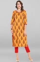 Janasya Women's Orange Cotton Kurta With Pant(SET152)