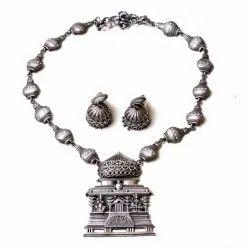 Silver Look oxidized Necklace Earrings Set