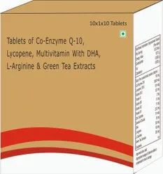 Tablet Of Co-enzyme Q-10, Lycopene, Multivitamin With Dha, L-arginine & Green Tea Extracts Tablets