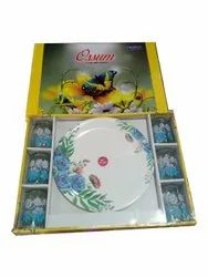 Printed Ossum Glass Plate Set, For Home, Packaging Type: Box