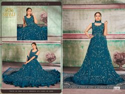 Peacock Blue And Cherry Red Women Aari Work + Handwork Net Party Wear Gown S-112