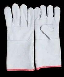 Split Leather Safety Hand Gloves, 7inches, Finger Type: Full Fingered