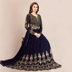 Embroidery With Stone Work Trendy Georgette Embroidered Anarkali Salwar Suit (Semi Stitched)