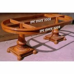 Wooden Carving Glass Top Dining Table