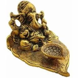 Gold Plated Ganesha On Peepal Patta Statue For Home Decoration & Corporate Gift