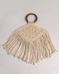 Boholiciouss ivory Macrame Hand Bag, For Casual Wear