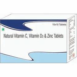 Natural Vitamin C, Vitamin D3 & Zinc Tablets