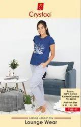 Crystaa Women Ladies Nightwear Pyjamas set with pocket, Size: S To Xxl