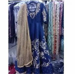 Blue Embroidered Gown Party Wear, Size: M