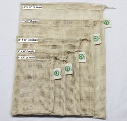 Organic Gots Cotton Mesh Drawstring Bags