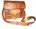 Vintage Leather Double Buckle Satchel Bag
