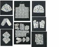 Cotton Multicolor hand block kitchen apron set, Size: Medium