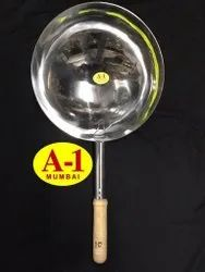 Round Stainless Steel Chinese Wok, For Kitchen, Size: 10inch