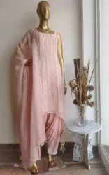 Pink Round Neck Georgette With Embroidery Sequence Work Ladies Dhoti With Kurta