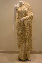 Embroidered Jamawar Saree