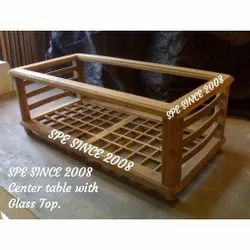 Wooden Center Table With Glass Top