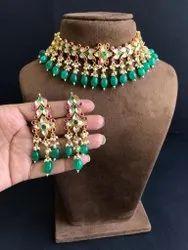 Green Ahmedabadi Real Kundan Necklace Set, Size: Adjustable Thread