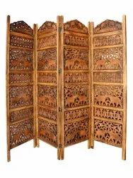 Brown Wooden Partition / Screen (4 Panel Room Partition)