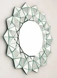 Round Silver Color MDF Plating Glass Mirror, For Decoration, Size: 30*30inch (diameter)