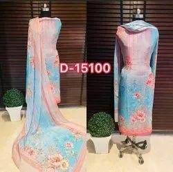 Blue Ladies Printed Unstitched Cotton Suit