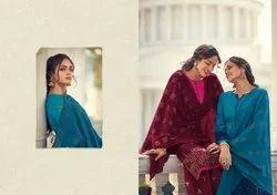 Unstitched Cotton Satin Suit, Block Print