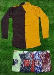 Plain Mustard And Brown Mens Full Sleeve Cotton Shirt, Handwash