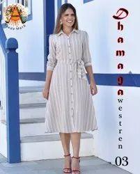 Frock Casual Wear ANK Enterprise Designer Poli Reyon Readymade Western Dresses