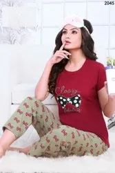 Heavy Hosiery Cotton 5 Color New Designer Night Wear Ladies Suit, For Adult