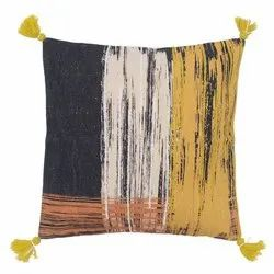 Multicolor Handmade Handcrafted cotton printed tassel pillow cover cushion, For Home, Size: 50cm X 50cm