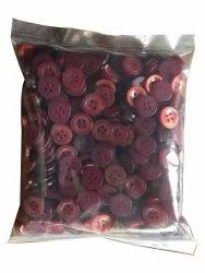Round Maroon Plastic Garment Button, Packaging Type: Packet, Size/Dimension: 14 Line
