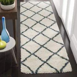 For Home White Designer Shaggy Room Carpet