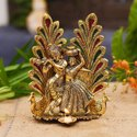 Nirmala Handicrafts Exporter Metal Radha Krishna With Peacock Diya Gift Pooja Item